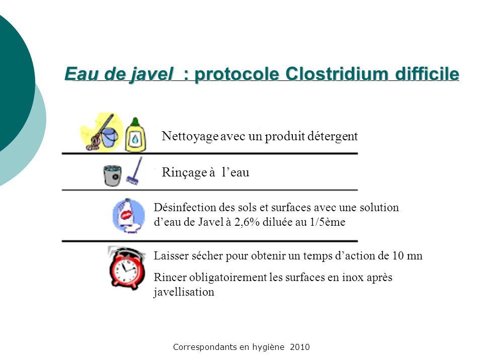 Correspondants en hygiène 2010 Eau de javel : protocole Clostridium difficile Nettoyage avec un produit détergent Rinçage à leau Désinfection des sols