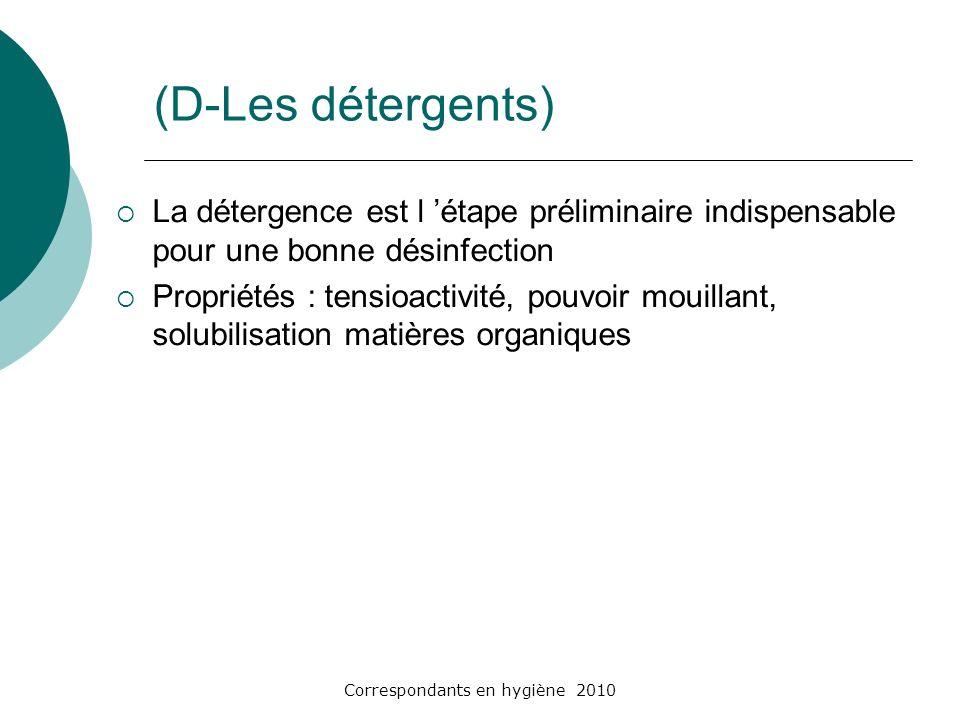 Correspondants en hygiène 2010 (D-Les détergents) La détergence est l étape préliminaire indispensable pour une bonne désinfection Propriétés : tensio
