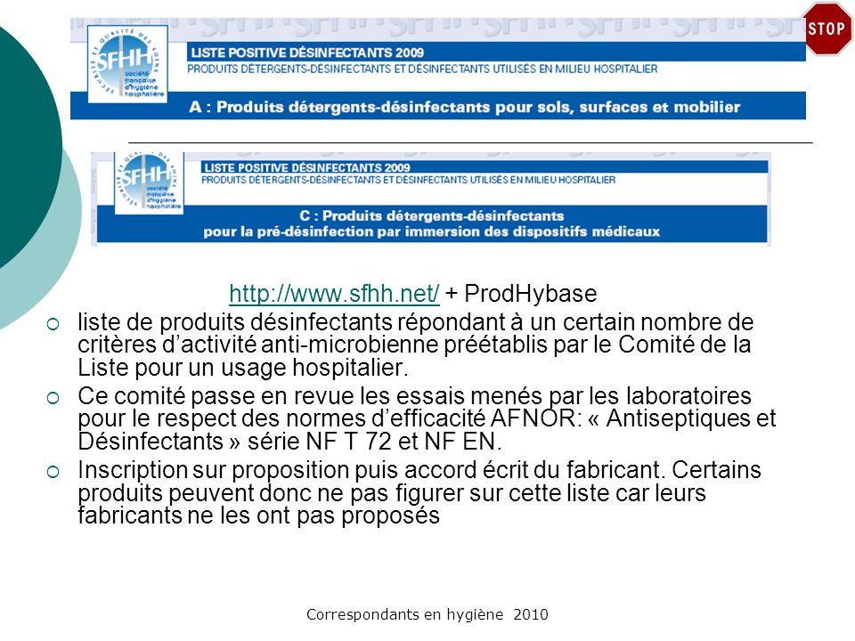 Correspondants en hygiène 2010 http://www.sfhh.net/http://www.sfhh.net/ + ProdHybase liste de produits désinfectants répondant à un certain nombre de