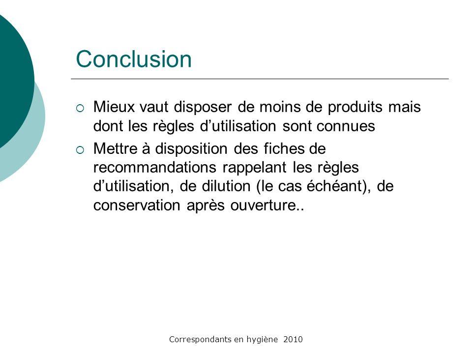 Correspondants en hygiène 2010 Conclusion Mieux vaut disposer de moins de produits mais dont les règles dutilisation sont connues Mettre à disposition