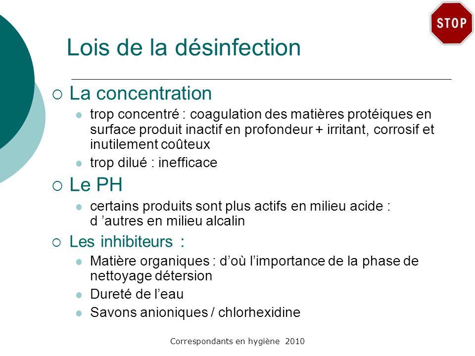 Correspondants en hygiène 2010 Lois de la désinfection La concentration trop concentré : coagulation des matières protéiques en surface produit inacti