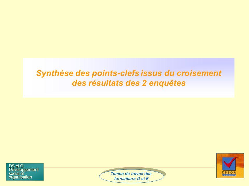Temps de travail des formateurs D et E Temps de travail des formateurs D et E DS et O Développement social et organisation Synthèse des points-clefs issus du croisement des résultats des 2 enquêtes