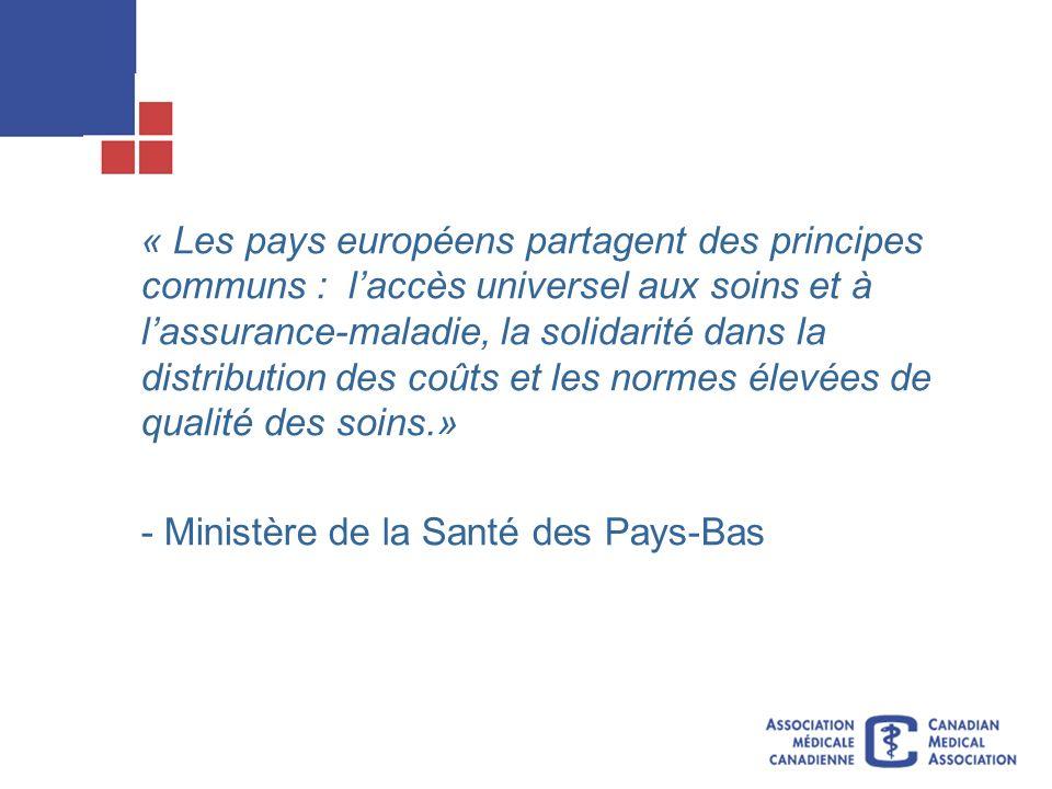 « Les pays européens partagent des principes communs : laccès universel aux soins et à lassurance-maladie, la solidarité dans la distribution des coûts et les normes élevées de qualité des soins.» - Ministère de la Santé des Pays-Bas