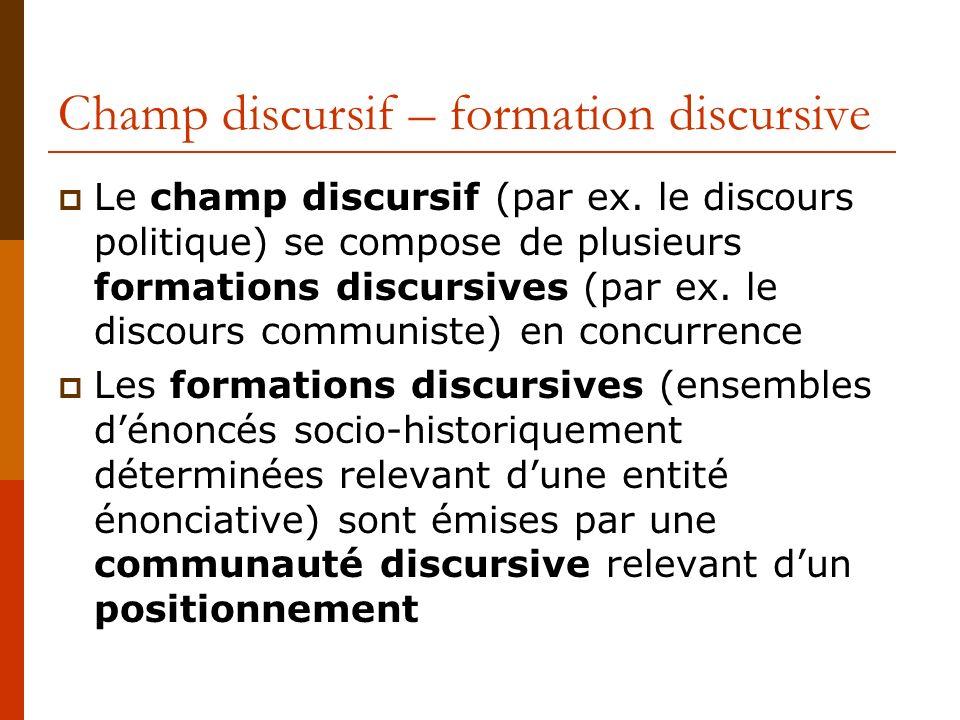 Champ discursif – formation discursive Le champ discursif (par ex. le discours politique) se compose de plusieurs formations discursives (par ex. le d