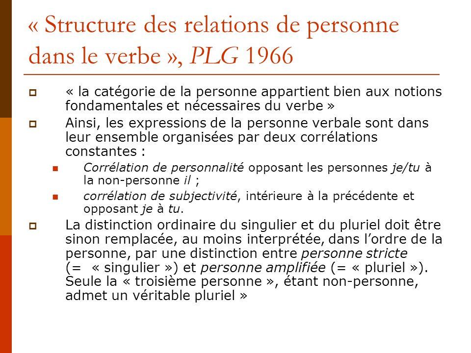 « Structure des relations de personne dans le verbe », PLG 1966 « la catégorie de la personne appartient bien aux notions fondamentales et nécessaires