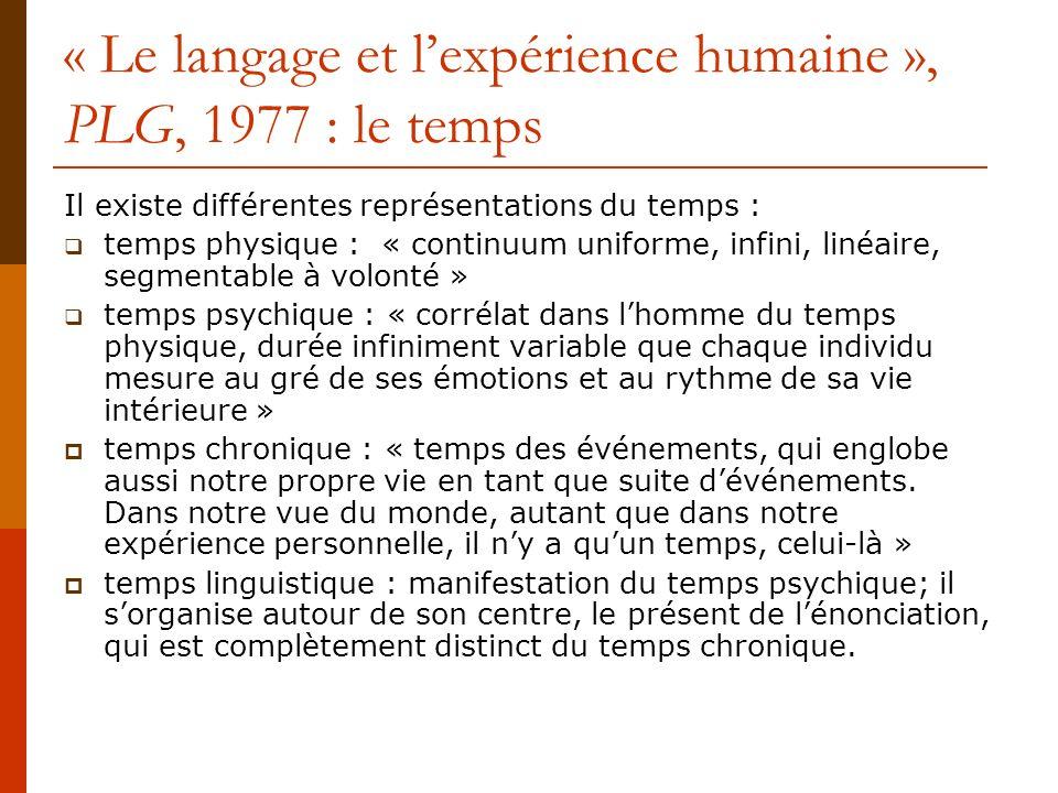 « Le langage et lexpérience humaine », PLG 1977 : le temps « Le temps du discours nest ni ramené aux division du temps chronique, ni enfermé dans une subjectivité solipsiste.