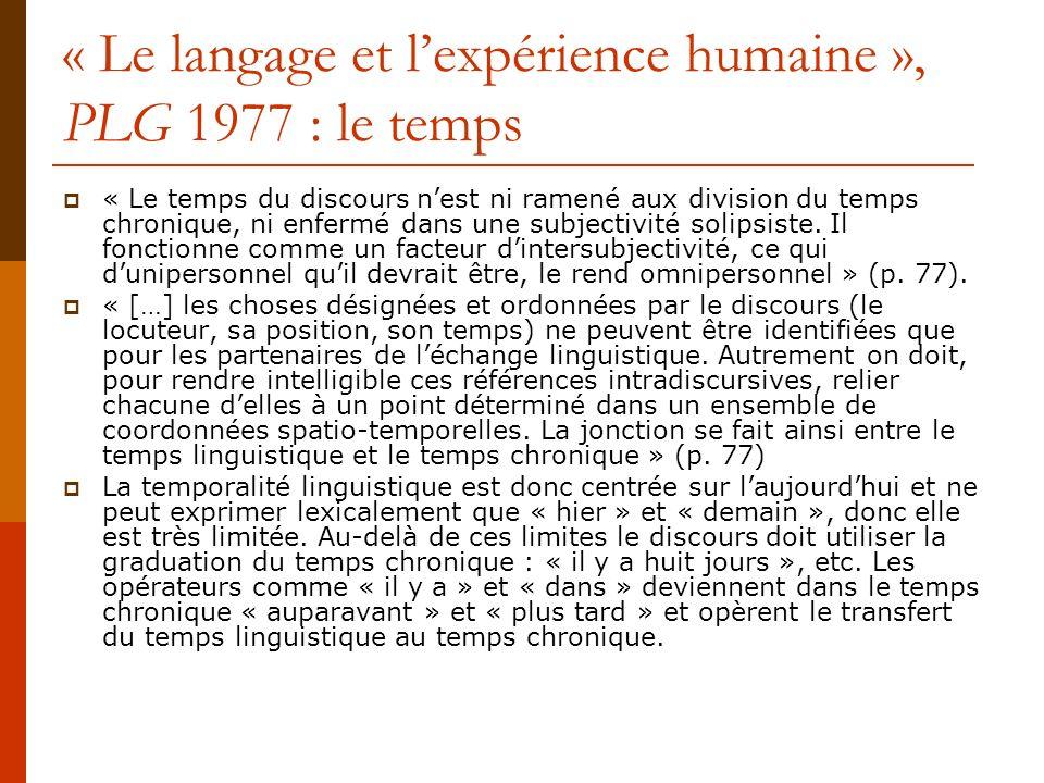 « Le langage et lexpérience humaine », PLG 1977 : le temps « Le temps du discours nest ni ramené aux division du temps chronique, ni enfermé dans une