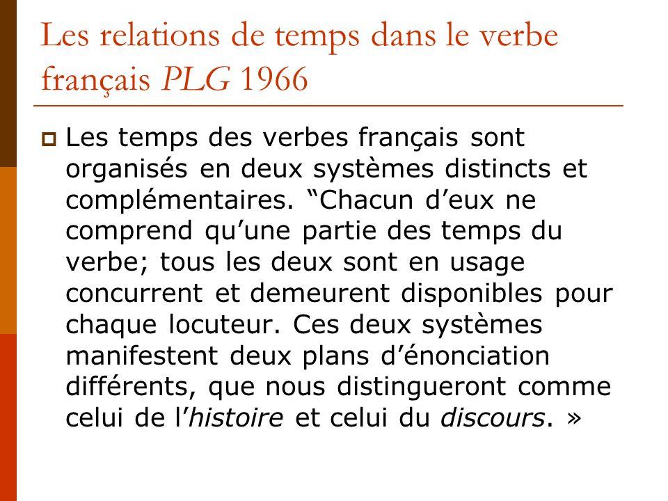 Les relations de temps dans le verbe français PLG 1966 Les temps des verbes français sont organisés en deux systèmes distincts et complémentaires. Cha