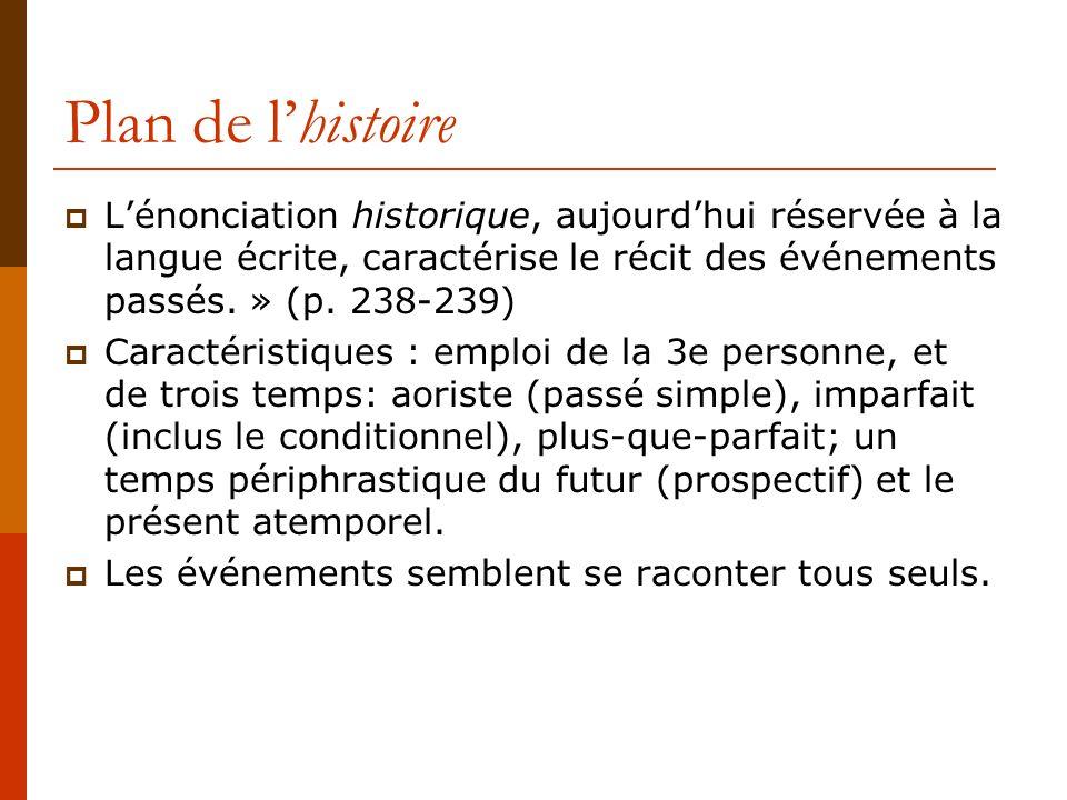 Plan de lhistoire Lénonciation historique, aujourdhui réservée à la langue écrite, caractérise le récit des événements passés. » (p. 238-239) Caractér