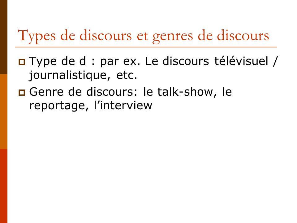 Types de discours et genres de discours Type de d : par ex. Le discours télévisuel / journalistique, etc. Genre de discours: le talk-show, le reportag
