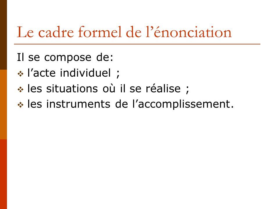 Le cadre formel de lénonciation Il se compose de: lacte individuel ; les situations où il se réalise ; les instruments de laccomplissement.