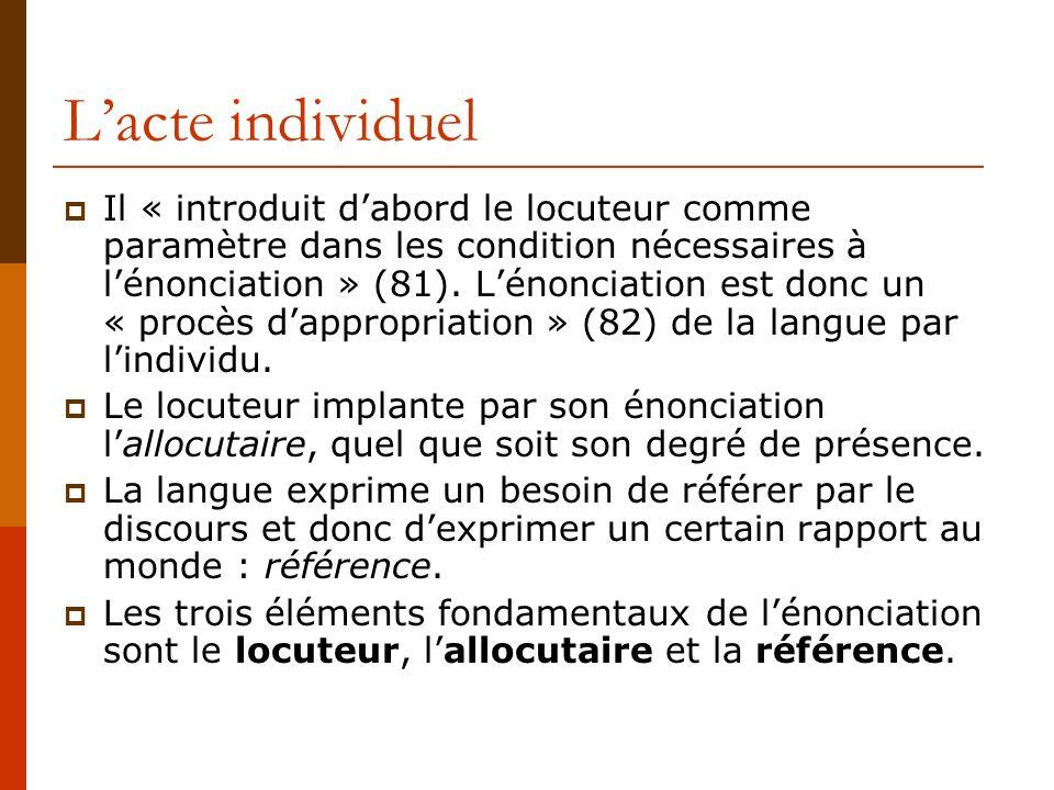 Lacte individuel Il « introduit dabord le locuteur comme paramètre dans les condition nécessaires à lénonciation » (81). Lénonciation est donc un « pr