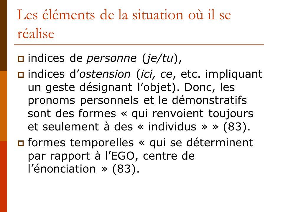 Les éléments de la situation où il se réalise indices de personne (je/tu), indices dostension (ici, ce, etc. impliquant un geste désignant lobjet). Do