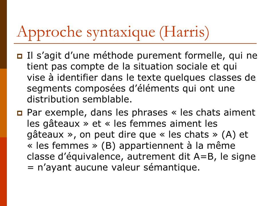 Approche syntaxique (Harris) Il sagit dune méthode purement formelle, qui ne tient pas compte de la situation sociale et qui vise à identifier dans le