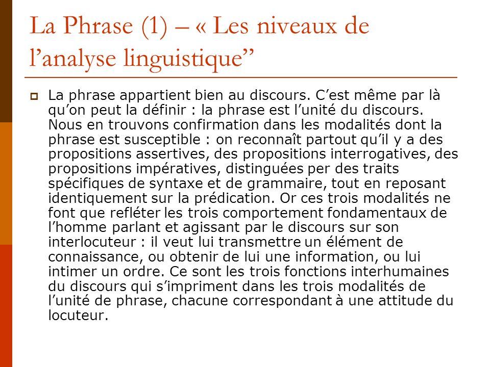La Phrase (2) La phrase est une unité, en ce quelle est un segment de discours, et non en tant quelle pourrait être distinctive par rapport à dautres unités de même niveau, ce quelle nest pas, comme on la vu.