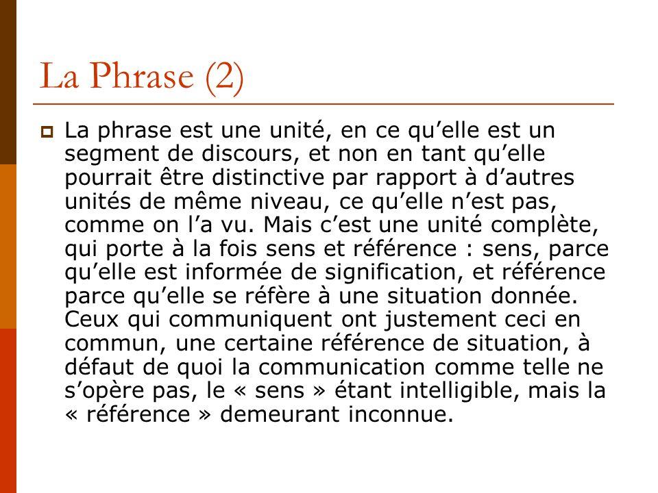 La Phrase (2) La phrase est une unité, en ce quelle est un segment de discours, et non en tant quelle pourrait être distinctive par rapport à dautres