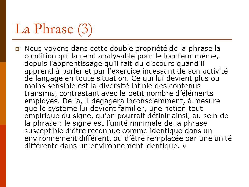 La Phrase (3) Nous voyons dans cette double propriété de la phrase la condition qui la rend analysable pour le locuteur même, depuis lapprentissage qu