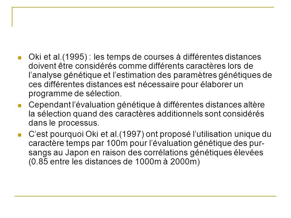 Oki et al.(1995) : les temps de courses à différentes distances doivent être considérés comme différents caractères lors de lanalyse génétique et lest