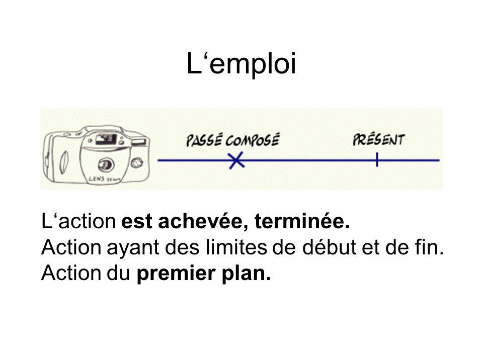 Lemploi Laction est achevée, terminée. Action ayant des limites de début et de fin. Action du premier plan.