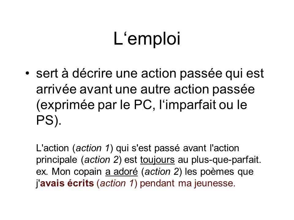 Lemploi sert à décrire une action passée qui est arrivée avant une autre action passée (exprimée par le PC, limparfait ou le PS). L'action (action 1)