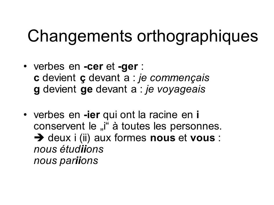Changements orthographiques verbes en -cer et -ger : c devient ç devant a : je commençais g devient ge devant a : je voyageais verbes en -ier qui ont
