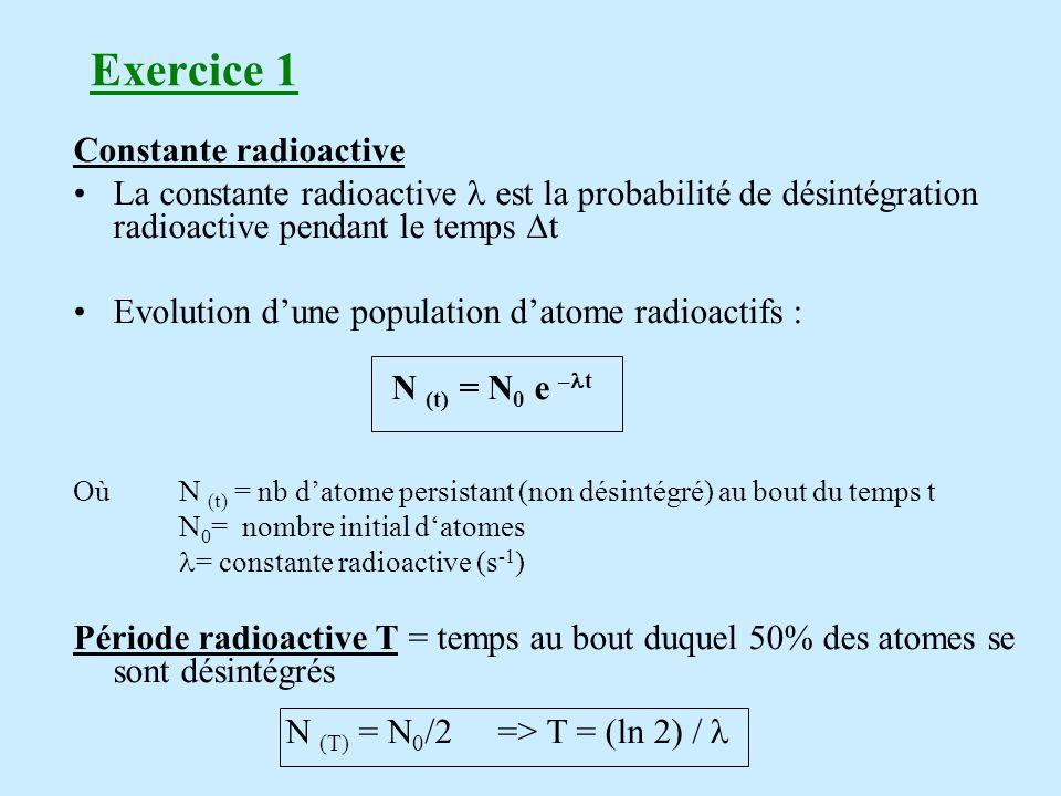 Activité Par définition lactivité « A » correspond au nombre de désintégrations radioactives par unité de temps A (t) = N (t) et A ( t) = A 0 e - t N(t)= nombre datome radioactif présents à linstant t Unité = becquerel : 1 Bq = 1 désintégration/seconde Ancienne unité : curie (activité d1g de radium) et 1 mCi= 37MBq Question 1) Calcul de lactivité en Bq.