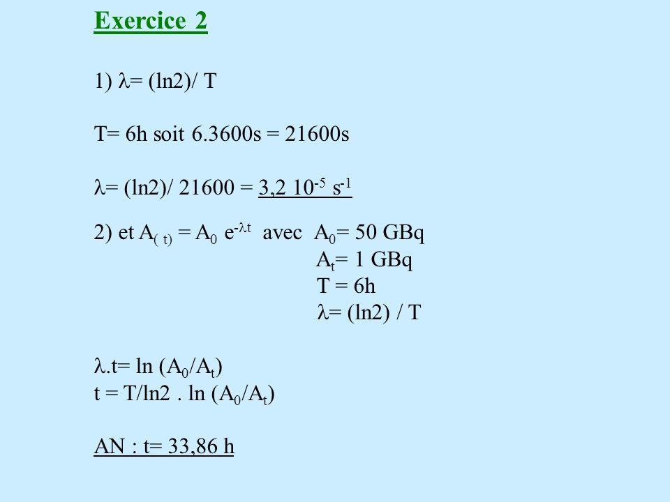 Exercice 2 = (ln2)/ T T= 6h soit 6.3600s = 21600s = (ln2)/ 21600 = 3,2 10 -5 s -1 2) et A ( t) = A 0 e - t avec A 0 = 50 GBq A t = 1 GBq T = 6h = (ln2