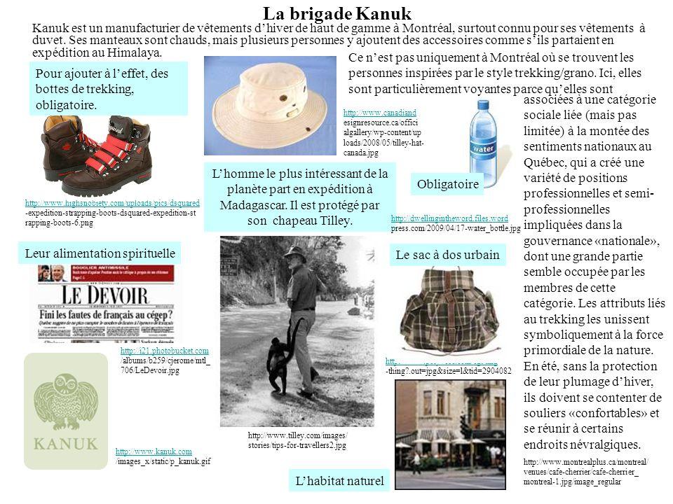 La brigade Kanuk Kanuk est un manufacturier de vêtements dhiver de haut de gamme à Montréal, surtout connu pour ses vêtements à duvet. Ses manteaux so