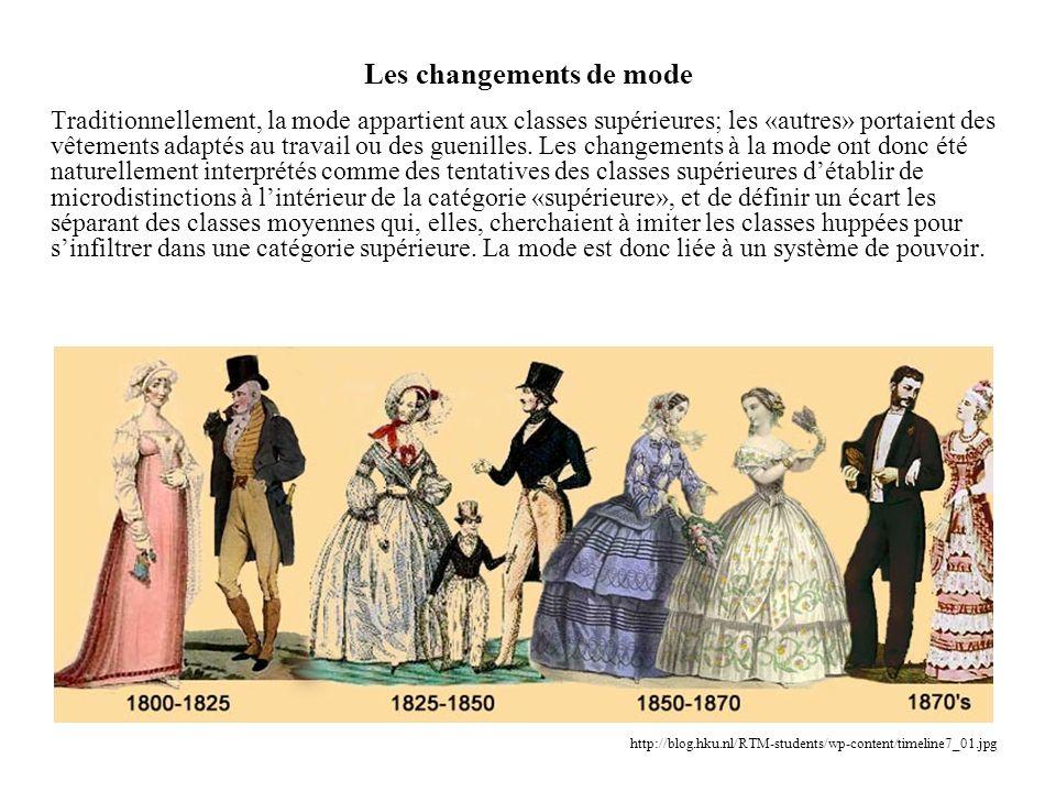 Les changements de mode Traditionnellement, la mode appartient aux classes supérieures; les «autres» portaient des vêtements adaptés au travail ou des
