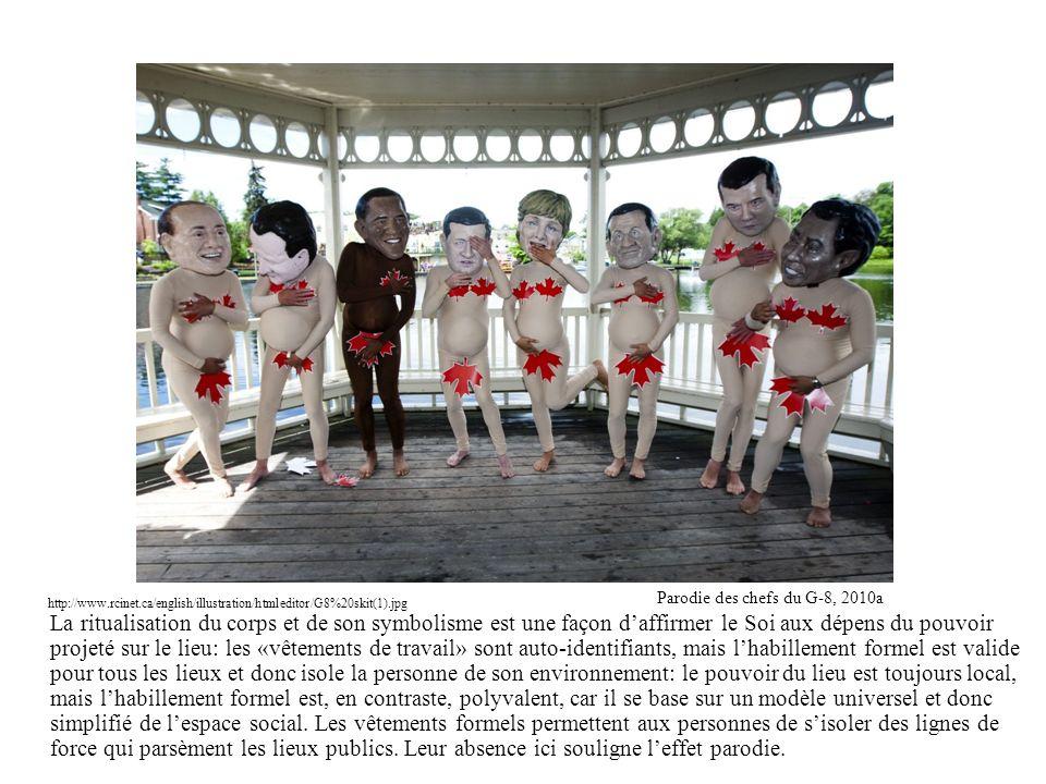 La ritualisation du corps et de son symbolisme est une façon daffirmer le Soi aux dépens du pouvoir projeté sur le lieu: les «vêtements de travail» so