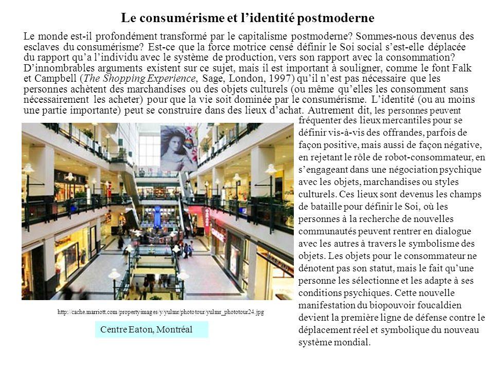 Le consumérisme et lidentité postmoderne Le monde est-il profondément transformé par le capitalisme postmoderne? Sommes-nous devenus des esclaves du c
