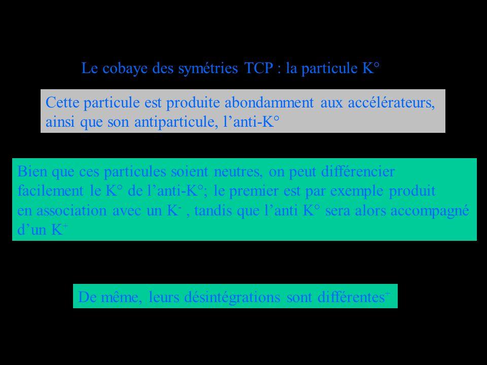 Le cobaye des symétries TCP : la particule K° Cette particule est produite abondamment aux accélérateurs, ainsi que son antiparticule, lanti-K° Bien q