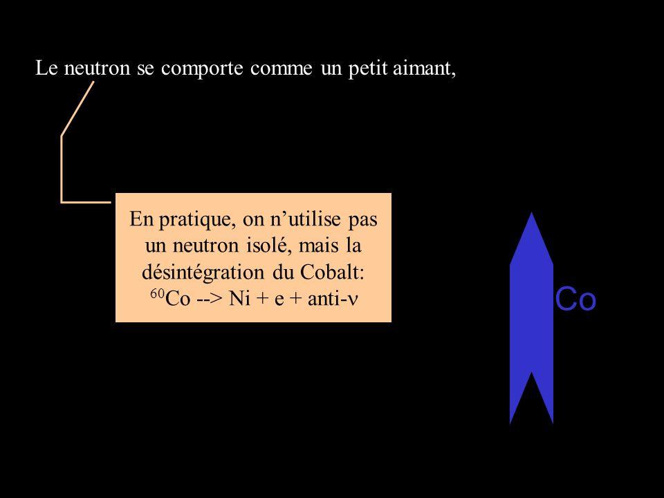 Le neutron se comporte comme un petit aimant, En pratique, on nutilise pas un neutron isolé, mais la désintégration du Cobalt: 60 Co --> Ni + e + anti