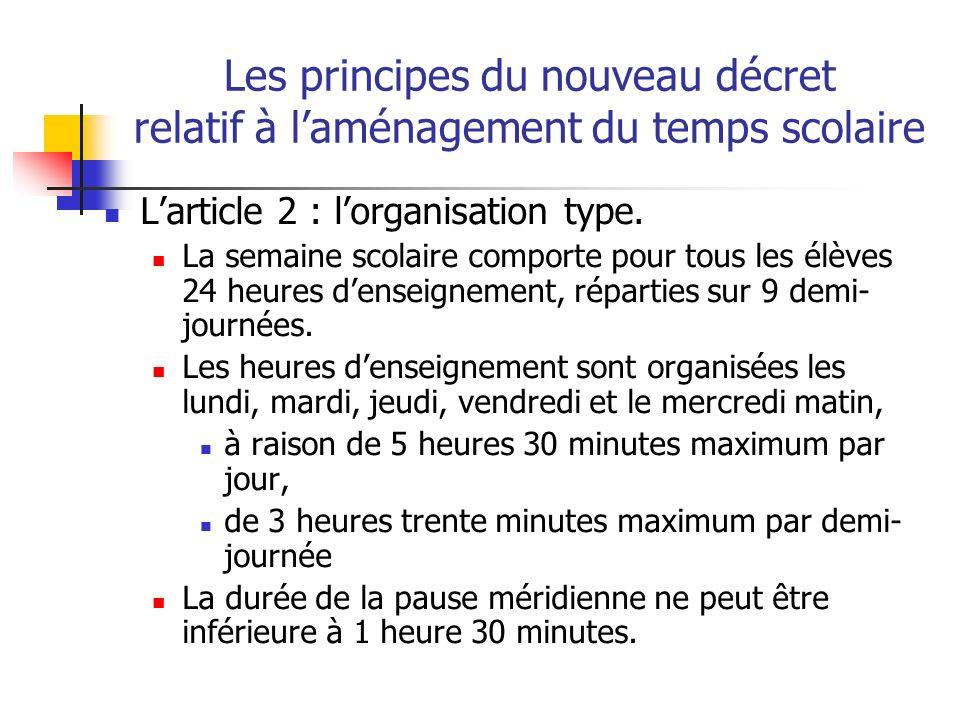 Les principes du nouveau décret relatif à laménagement du temps scolaire Larticle 2 : lorganisation type.