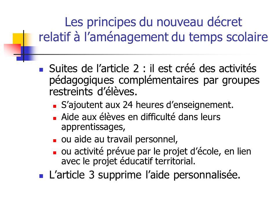 Les principes du nouveau décret relatif à laménagement du temps scolaire Suites de larticle 2 : il est créé des activités pédagogiques complémentaires par groupes restreints délèves.