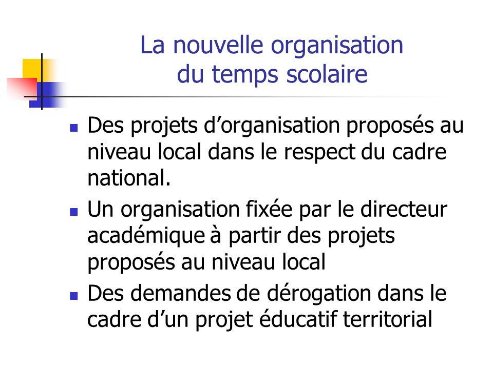 La nouvelle organisation du temps scolaire Des projets dorganisation proposés au niveau local dans le respect du cadre national.