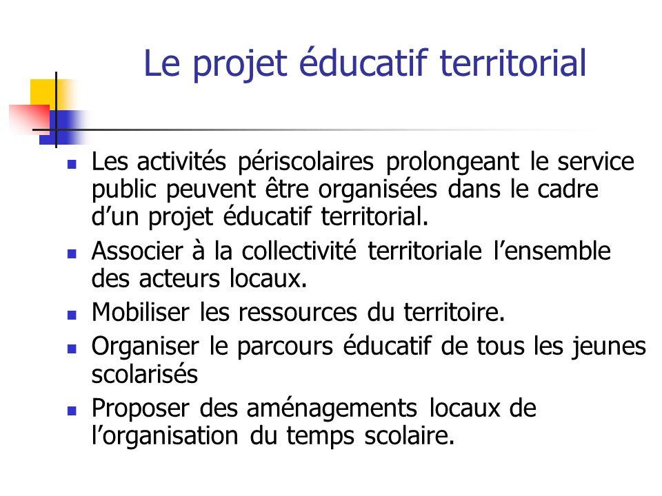 Le projet éducatif territorial Les activités périscolaires prolongeant le service public peuvent être organisées dans le cadre dun projet éducatif territorial.
