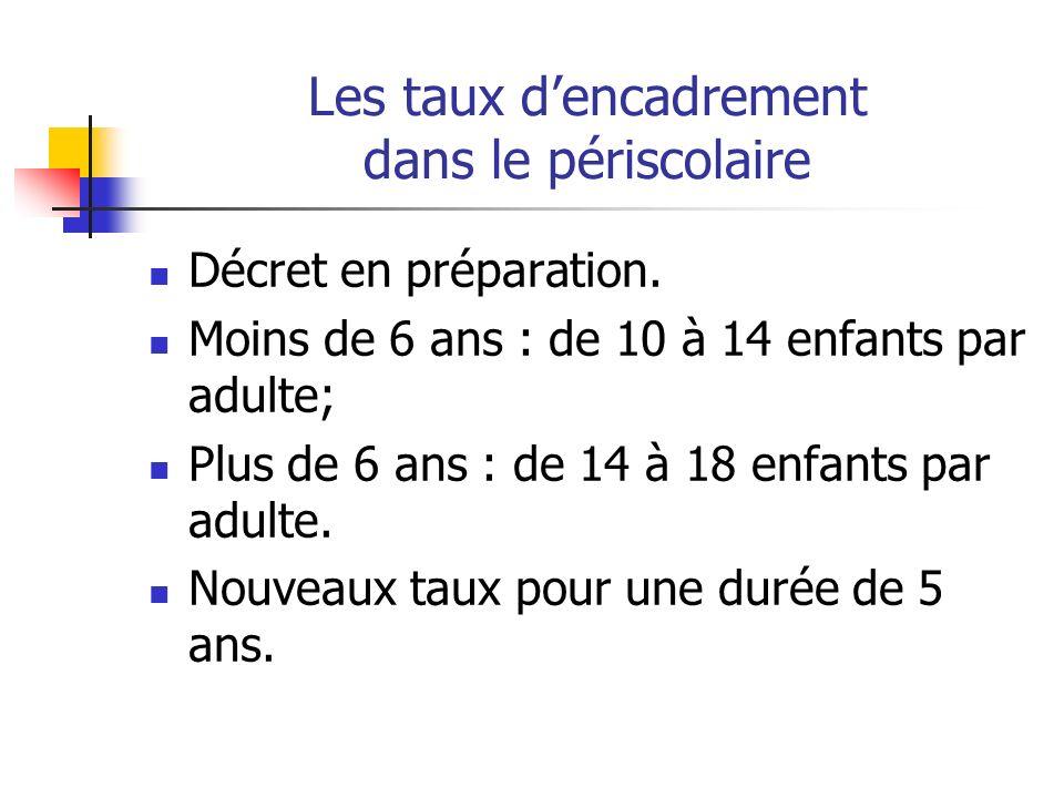 Les taux dencadrement dans le périscolaire Décret en préparation.