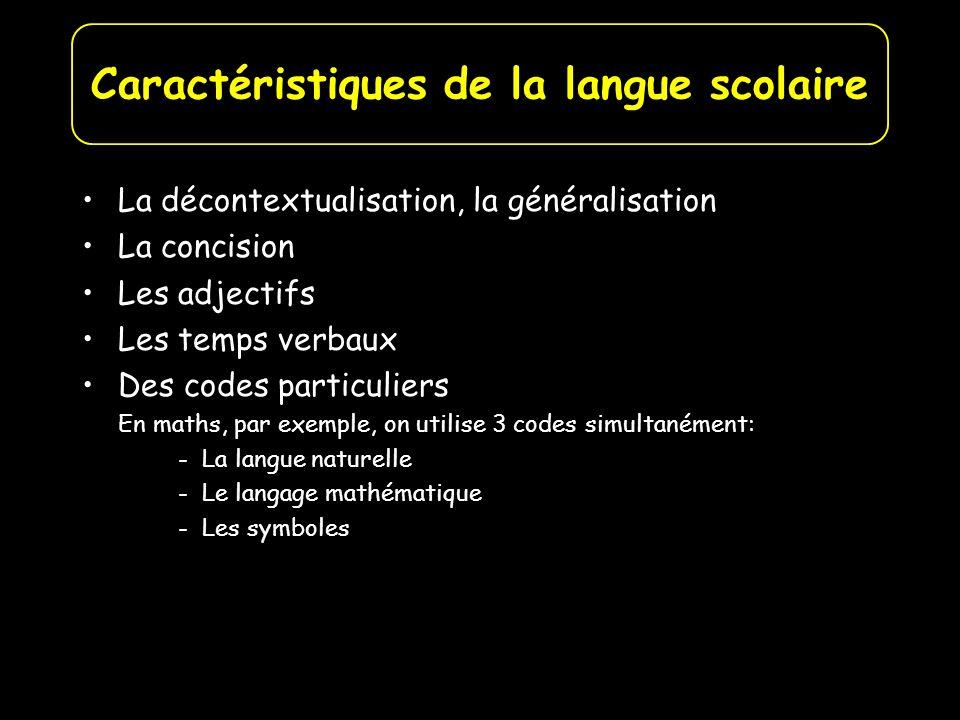 La décontextualisation, la généralisation La concision Les adjectifs Les temps verbaux Des codes particuliers En maths, par exemple, on utilise 3 code