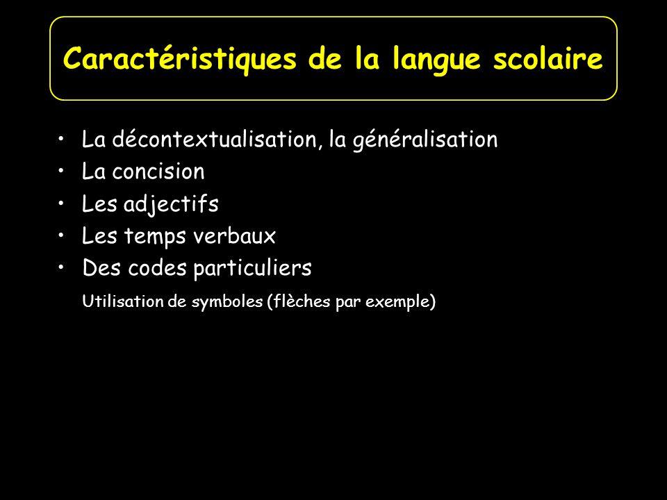 La décontextualisation, la généralisation La concision Les adjectifs Les temps verbaux Des codes particuliers Utilisation de symboles (flèches par exe