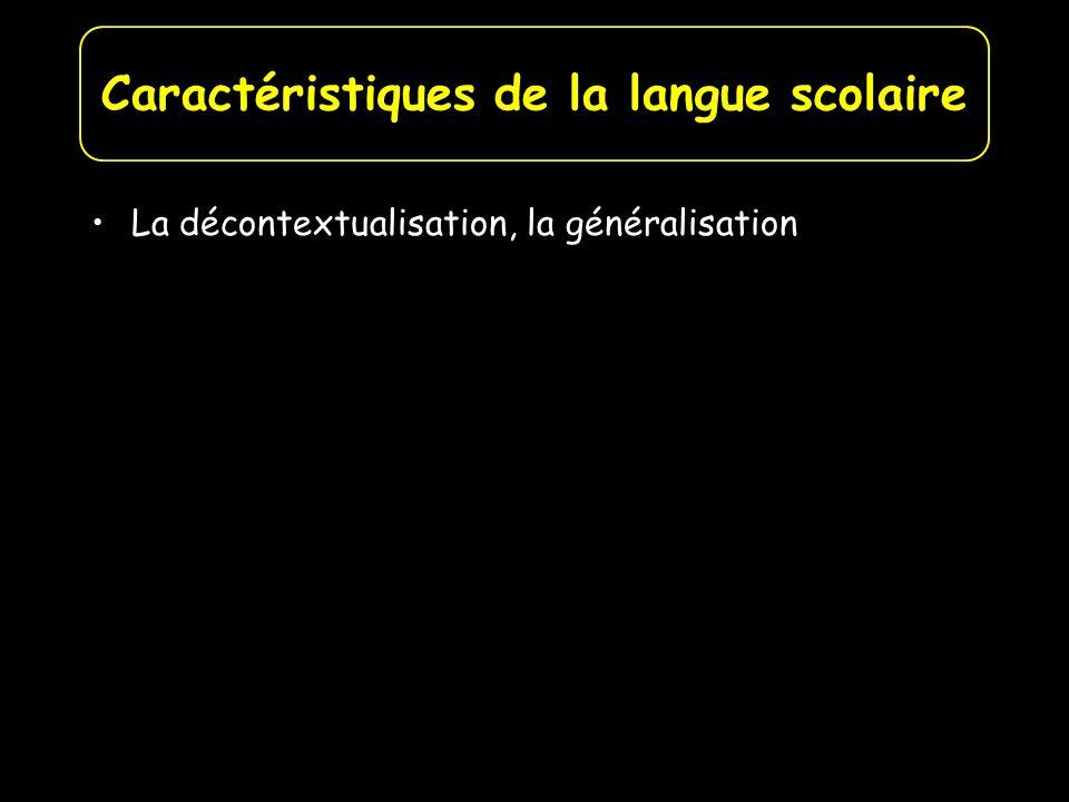 La décontextualisation, la généralisation La concision Les adjectifs Les temps verbaux -Le présent de lindicatif à valeur de vérité générale Caractéristiques de la langue scolaire