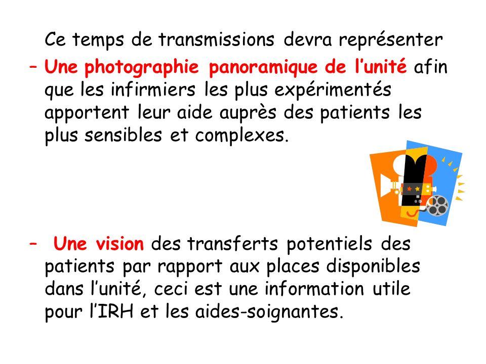 Ce temps de transmissions devra représenter –Une photographie panoramique de lunité afin que les infirmiers les plus expérimentés apportent leur aide