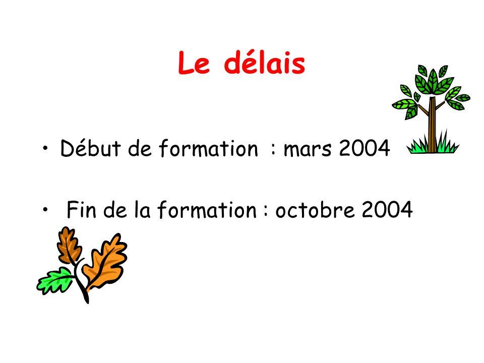 Le délais Début de formation : mars 2004 Fin de la formation : octobre 2004