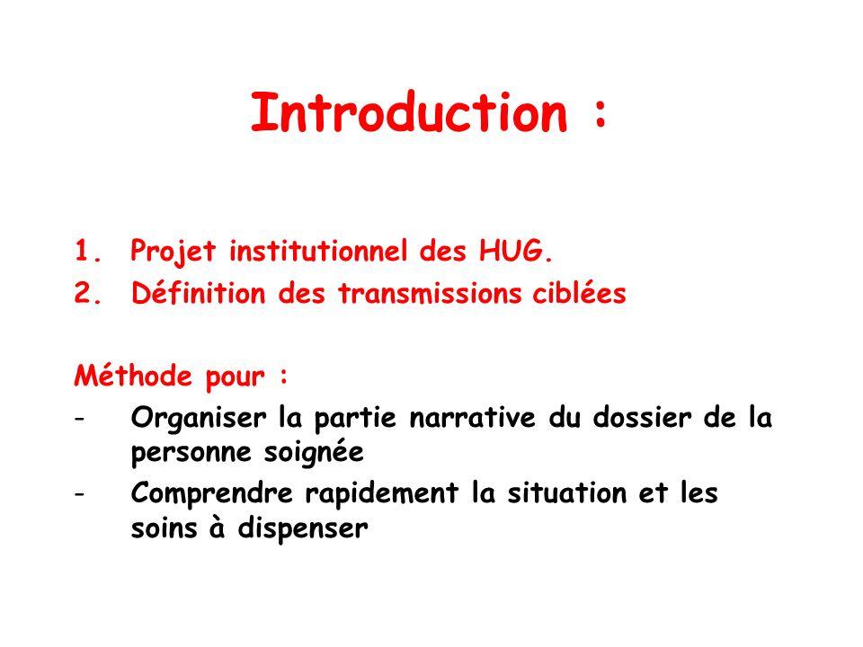 Introduction : 1.Projet institutionnel des HUG. 2.Définition des transmissions ciblées Méthode pour : -Organiser la partie narrative du dossier de la