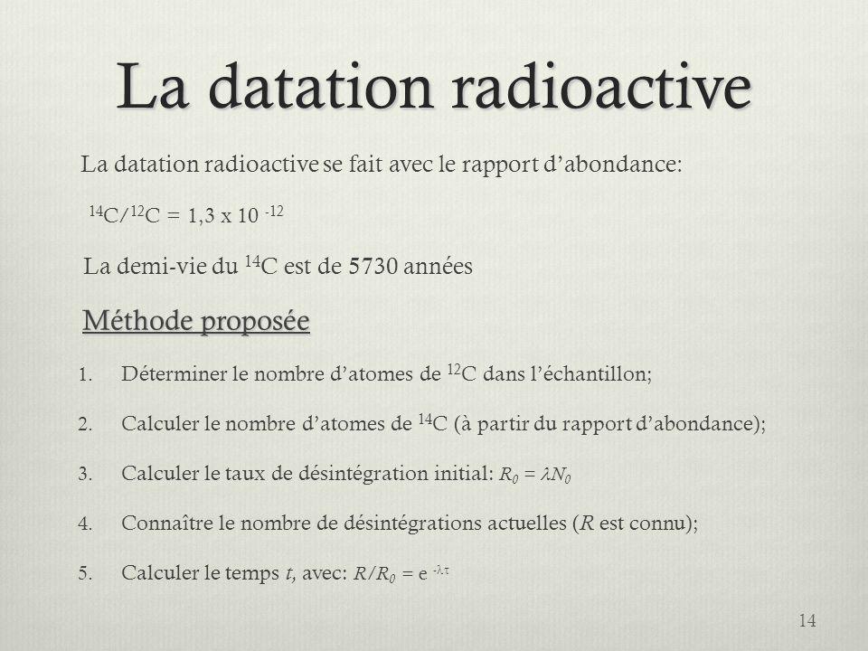 La datation radioactive La datation radioactive se fait avec le rapport dabondance: 14 C/ 12 C = 1,3 x 10 -12 La demi-vie du 14 C est de 5730 années M