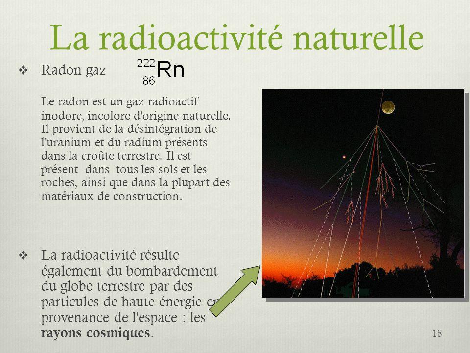 La radioactivité naturelle Radon gaz Le radon est un gaz radioactif inodore, incolore d'origine naturelle. Il provient de la désintégration de l'urani