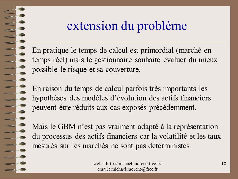 web : http://michael.moreno.free.fr/ email : michael.moreno@free.fr 10 extension du problème En pratique le temps de calcul est primordial (marché en temps réel) mais le gestionnaire souhaite évaluer du mieux possible le risque et sa couverture.