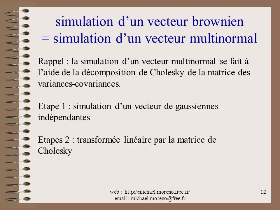 web : http://michael.moreno.free.fr/ email : michael.moreno@free.fr 12 simulation dun vecteur brownien = simulation dun vecteur multinormal Rappel : la simulation dun vecteur multinormal se fait à laide de la décomposition de Cholesky de la matrice des variances-covariances.