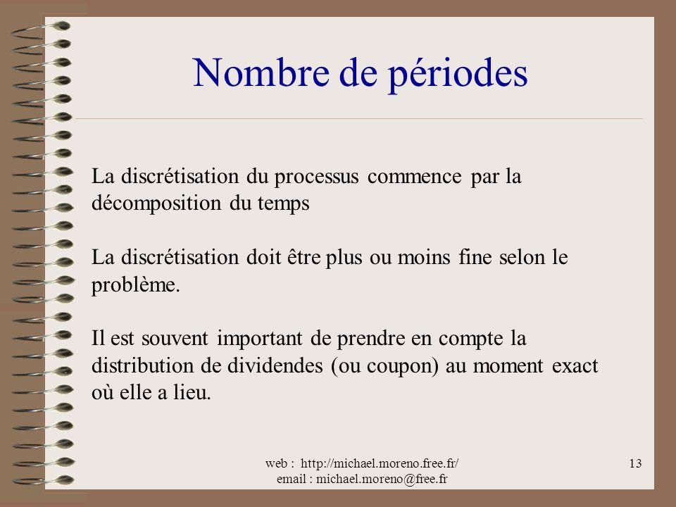 web : http://michael.moreno.free.fr/ email : michael.moreno@free.fr 13 Nombre de périodes La discrétisation du processus commence par la décomposition du temps La discrétisation doit être plus ou moins fine selon le problème.