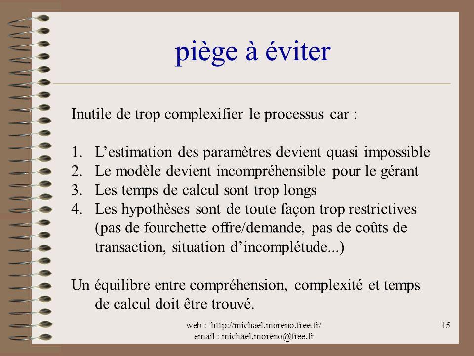 web : http://michael.moreno.free.fr/ email : michael.moreno@free.fr 15 piège à éviter Inutile de trop complexifier le processus car : 1.Lestimation de